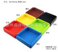 Wholesale 10 cm New Portable Soft fashion Eco Friendly Pocket Shatterproof Cigar Rubber Silicone plastic Square Ashtray Ash multiple color