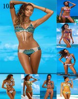 Wholesale Sexy women Bikinis Floral Print Brazilian Bikini Set Vintage Swimsuits Swimwear Sexy Swimsuit Women Bathing Suits Push Up Bikini