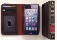 antique book cover - Hot New Antique Leather Retro Old Classic Vintage Book Case Cover Wallet For Iphone S
