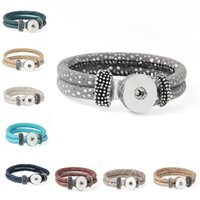 amazon leather bracelets - 9 Color NOOSA PU Leather Bracelet Chunks Snap Button DIY Jewelry Fit For mm Snap Button Amazon Hot Decor Gift Pack Of E732E