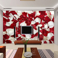 Wholesale 3D Large Mural Wallpaper The Living Room Bedroom Bedside Rose Petal Floral Wedding Room Hotel background Photo Murals Wall Paper