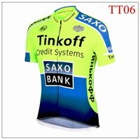 Wholesale Hot sale Tinkoff saxo bank Tour De France Cycling Jerseys tops green fluo XS XL Short Sleeve Road Bicycle Wear