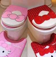 Wholesale Hello kitty Toilet rugs with seat cover washroom lavatory foot pad seat cushion set