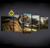 5 Панель Современные печатные Tiger холст картины Картины Cuadros Картина маслом ландшафта животных для гостиной (без рамки)