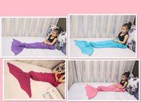 Wholesale DHL Knitted Mermaid Blanket Tail for Kids Super Soft and Fashion Sleeping Bags cm All Seasons Sleeping Blankets
