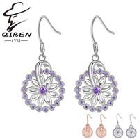 alphabet discs - High quality silver Amethyst earrings flowers disc crystal earrings fashion sterling silver jewelry for women Dangle earrings