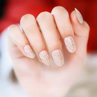 Wholesale 24pcs set Golden Pattern Round Small Pre design Fake Nails Japanese Style False Nails Nail Art Tips Salon Manicure Art for women lady girl