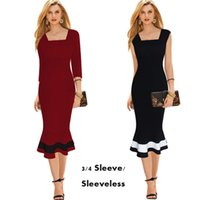 Wholesale Slim Career Office Dress Ladies Mermaid Cocktail Party Dress Square Neck Sleeveless Striped Knee Length Bodycon Pencil Dress ZSJF0333