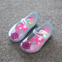 Wholesale 2016 GIRL FROZEN ELSA BABY SHOES JELLY SANDALS Summer Shoes Beach Water Sandals Toddler Kids Infants Shoes Cartoon PVC Blue DHL Free