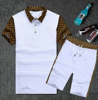 brand golf shirt - drop shipping new arrival men summer fashion brand name tracksuit size m xxl lus t shirt and pant one set men clothes set