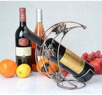 Wholesale Brand New Europe Style Fashion and Creative Moon Shape Design Iron Art Wine Rack Vintage Wine Rack