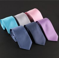 Wholesale Fashion Stripe Necktie Groom Gentleman Ties For Men Business Wedding Party Formal Slim Arrow Mens Ties