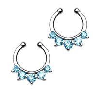Wholesale 10pcs G Steel Nose Rings Fake Septum Clicker Nose Rings Ear Cartilage CZ Body Piercing Fashion Nariz Body Jewelry