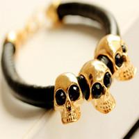 big leather bracelet - 2016 Fashion Europe and America Punk Big Brand Personality Retro Skull Bracelet Mit Leather Bracelet Couple