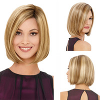 Wholesale 2016 Hot Women s Wig Straight Short Blonde Full Wig Bob Haircut with Tilted Frisette