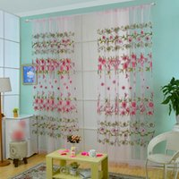 Wholesale Curtains Elegant Floral Tulle Curtains for Living Room Sheer Curtains for Household Decorative Nonwashable JI0138