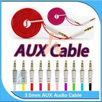 Wholesale 3 mm Aux Cable for iPhone Colorful M Audio Flat Noodle Cable Male to Male for iPad MP3 No Packing