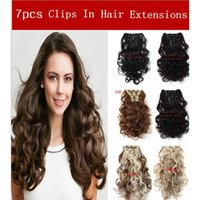 Wholesale 50cm inch Clip In Hair Extensions Hair Piece Curly Wavy Hairpiece Synthetic Clip On Hair Extension