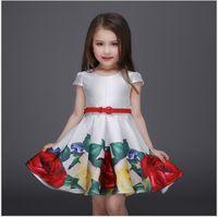 big bow belt - 2016 New Big Girls Flower Printing Princess Dress Children Short Sleeve Summer Dresses Kids Clothing Cute Girl Tutu Dress With Belt