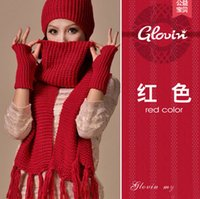 Wholesale Knitted HAT GLOVES SCARF Set Brand Design scarfs and shawls Korea Stylish Scarves women Gradient Color fashion Gloves Mufflers HOT