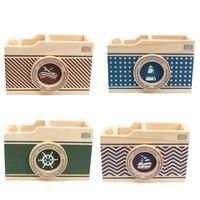al por mayor las cámaras de caja de la vendimia-Patrón de diseño de la cámara de las misceláneas Caja de almacenamiento de escritorio de la vendimia por mayor-moderna caja del sostenedor de la pluma de la pluma del lápiz Organizador Inicio regalo de la oficina