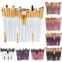eyebrow shadow - 20 Sets Eye Shadow Foundation Eyebrow Lip Brush Makeup Brushes Tool Black Make up Brush Set BY DHL