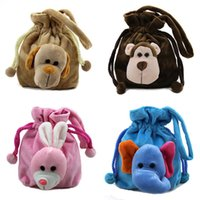 beaming baby wholesale - baby boy girl package coin purse bags Small animal plush beam port Handbags purse cartoon cute little girls pumped storage bag mouth
