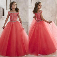 Wholesale New Off Shoulder Little Pageant Dresses For Girls Crystal Beads Coral Tulle Formal Party Dress for teen Kids Flowers Girls Gowns