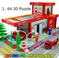 alloy old toy cars - D Puzzle Puzzle City Fire Department alloy car toy cars for children Children s educational toys