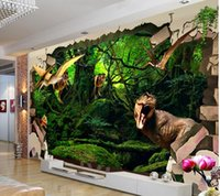 ancient chinese entertainment - 3d wallpaper custom photo non woven mural wall sticker To break the wall ancient dinosaur painting picture d wall room murals wallpaper