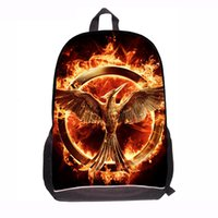bag hunger - Black D Printed Hunger Game Movie Large School Bag for Boys Student Back to School Backpack Bird Mochila