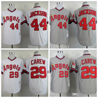 Wholesale 2016 New Los Angeles Angels of Anaheim Baseball Jersey Rod Carew Reggie Jackson Pullover Throwback Jersey Cool Base Stitched Jersey