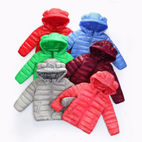 Wholesale Multicolor Kids Cat Ears Hooded Down Jacket Children cute hoodie Down coat Winter thick warm outwear for girls boys