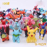 Animales grandes Baratos-100pcs / lot 3-5 cm de tamaño de bolsillo de gran monstruo de Pikachu del empuje ir animal muñeca de juguete Figuras de acción modelo de regalos de Navidad
