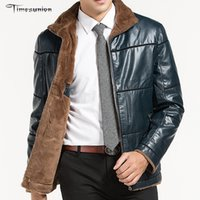 Wholesale Men Leather Motorcycle Jacket Russian Minus degree Winter Faux Fur Casual Leather Coat
