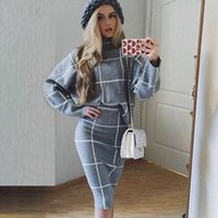Wholesale Brand New Autumn Winter Women Skirt Suit Two Piece Knitted Sweater and Plaid Skirt Set Sweater Skirt Set D