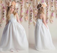 Wholesale Cheap Lace Flower Girl Dresses Organza Ivory A line Baby Girl Birthday Party Christmas Communion Dresses Children Girl Party Dresses