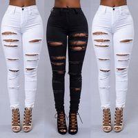 Wholesale 2016 Womens Denim Stretch Jeans Destroy Skinny Ripped Distressed Pants S M L XL