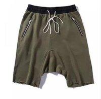 Wholesale summer korean hiphop fashion kanye west justin bieber sweat jogger Olive Green Khaki fear of god harem Man RO Sport Shorts