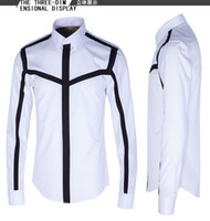Wholesale New Arrival Fashion Patchwork Printed Style European and American Design Slim Long sleeved Shirt Mens Casual Shirt Hot