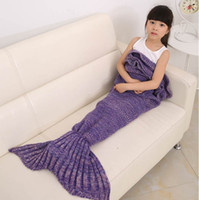 Wholesale Kids Crochet Mermaid Blankets Handmade Mermaid Tail Blankets Mermaid Tail Sleeping Bag Knit Sofa Nap Blankets Costume Cocoon