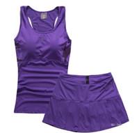 Wholesale Woman sports vest short skirt skorts set tennis ball dress badminton set pleated sports skirt Yoga vest suit