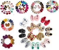 Wholesale 150 Styles Baby Soft PU Leather Tassel Moccasins Girls Bow Moccs Baby Booties Toddler Solid Colour Tassel Shoes Moccasin