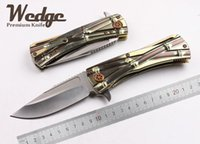 bamboo bears - WEDGE MICROTECH D2 Sanding Blade Bamboo TC4 titanium Alloy Handle EDC OEM Folding Bearing knife Jackknife Outdoor Gear Slipper Tools Knives