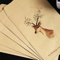 Wholesale Kraft paper vantage style cute colorful Painted deer wallet envelope for gift love letter leave a note of A4 letter paper