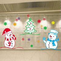Wholesale Merry Christmas Shop Window Or Glass Background Stickers Snowman Santa Claus Removable Art Design Window Stickers Decoration