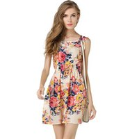 Wholesale Summer Style Floral Print Short Summer Dresses Women Beach Club Casual Loose Chiffon Sleeveless O Neck Sexy Short bohemian Dress FS0170