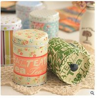 beautiful tea caddy - Beautiful floral pattern adornment double layer sealing cover metal storage container tin tea caddy boxes mix color