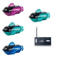 Wholesale Newest Mini Green Radio Remote Control Sub Submarine Boat Explorer LED Toy for children gifts