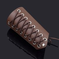 arm armor - Brown Gothic Cosplay Wristband Synthetic Leather Cuff Bracer Arm Armor Cuff Cross Strings